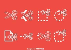 Scissor Cutting Line Icons Vektor Set
