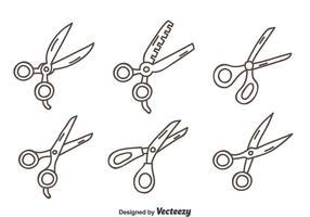 Handgezeichnete Schere Vektor Set