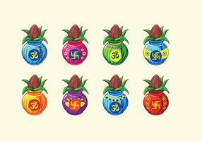 Ställ Vektor illustration av Kalash med Kokos och Mango Leaf