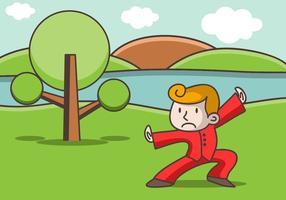 Illustration von Wushu Kämpfer während des Trainings vektor