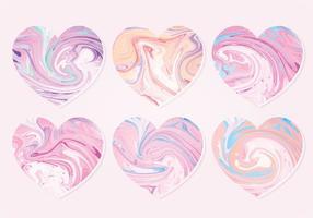 Vektor marmor hjärtan samling