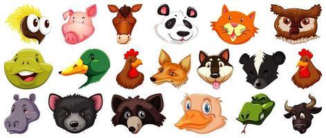 uppsättning av olika söta tecknade djurhuvud s vektor