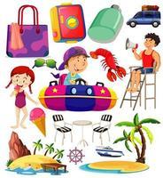 uppsättning sommar strand ikon och barn tecknad stil vektor