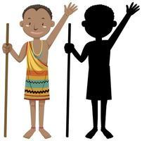 afrikanischer Stammcharakter mit Silhouette