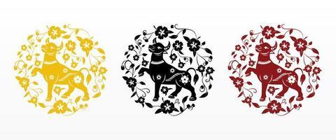 kinesiskt nyår 2021 oxe i cirkulärt blommönster vektor