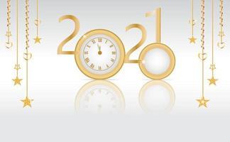 nyårskort med 2020 förvandlas till 2021 vektor