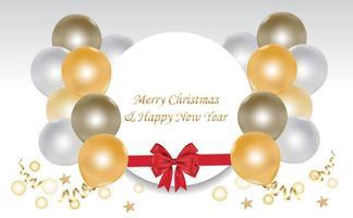 jul- och nyårskort med ballonger och cirkelram vektor