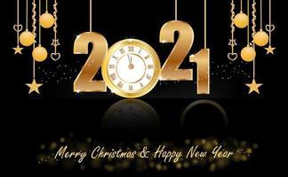 Neujahr 2021 Design mit Uhr und hängenden Ornamenten vektor