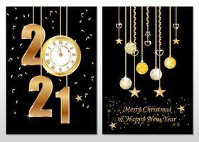 Weihnachts- und Neujahrskarten mit hängenden Ornamenten vektor