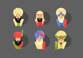 Sultan flache Vektor Zeichensätze