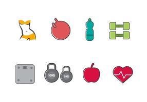 Gratis bantning och hälsosamma ikoner vektor