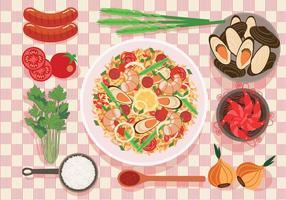Paella auf einem Teller Vektor