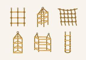 Seilleiter Knoten Holz Treppe Vektor Lager