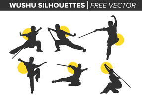 Wushu Silhouetten freien Vektor