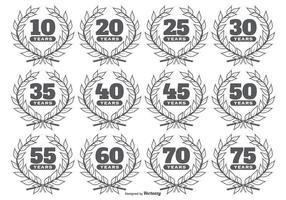 Årsdag Vector Etiketter