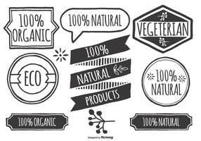 Handdragen stil ekologiska produktlabbar