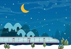TGV-tåg i nattens snö