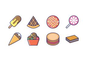 Goody und Candy Linear Icons vektor