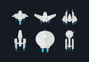 Starship Flat Vector Set