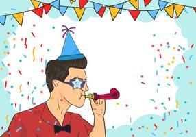 Man Blasen Ein Party Blower vektor
