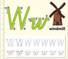 Buchstabe w Tracing Alphabet Arbeitsblatt mit Windmühle vektor