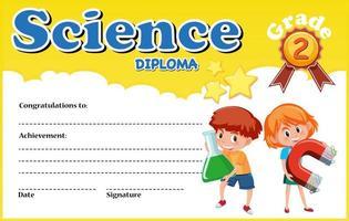 Vorlage für ein wissenschaftliches Diplomzertifikat mit Kindern vektor