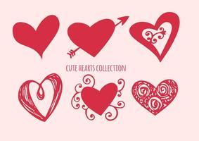 Söt hjärta former samling vektor