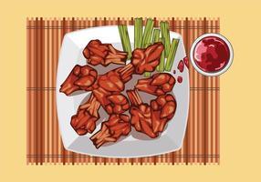Buffalo Wings mit Sauce auf dem Tisch Top View vektor