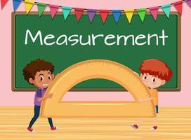 Jungen, die Winkelmesser im Klassenzimmerhintergrund halten vektor