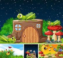 uppsättning olika insekter som bor i trädgården