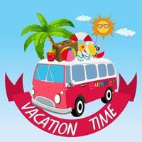 Urlaubsthema mit Van und Sommerobjekten vektor