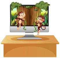 Dschungelthema auf Computerhintergrund