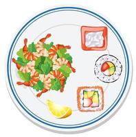 Luftaufnahme von Lebensmitteln auf dem Teller vektor
