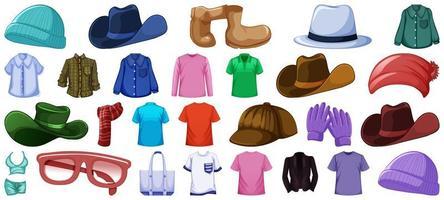 Set von Mode-Outfits und Accessoires vektor