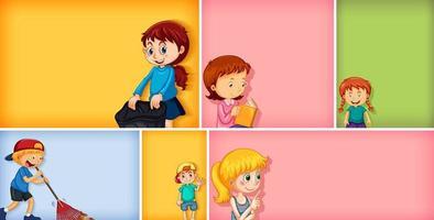 Satz von verschiedenen Kindercharakteren auf farbigem Hintergrund vektor