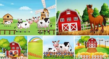 uppsättning olika bondgårdsscener med djur vektor