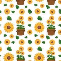 nahtloses Muster mit niedlichen Sonnenblumen und Blättern vektor