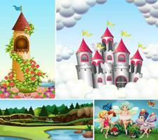 Satz Fantasy-Hintergrund oder Szene