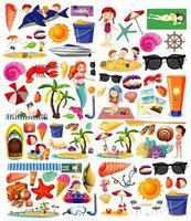 uppsättning sommar strand ikon tecknad stil