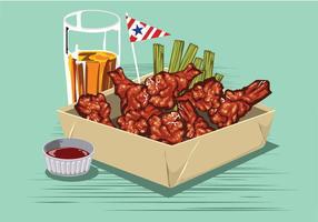 Buffalo Wings mit Sauce und Bier auf dem Tisch vektor