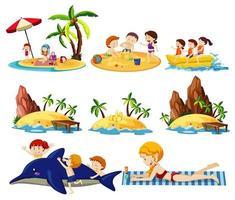 uppsättning sommar strand land och ikon tecknad