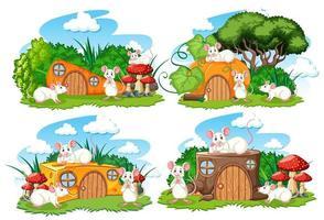 uppsättning fantasihus i trädgården