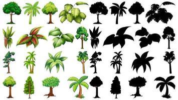 uppsättning växter och träd med silhuetter