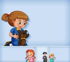 Satz von verschiedenen Kindercharakteren auf blauem Hintergrund vektor