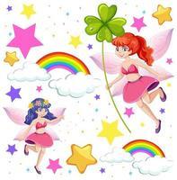 Satz von Märchen-Fantasy-Zeichentrickfiguren vektor