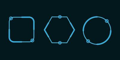 Satz Technologie neonblaue Formen