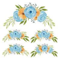 Vintage Aquarell Blumenstrauß Sammlung
