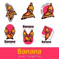 Bananen-Maskottchen-Zeichensatz vektor