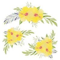 Satz aquarellgelbe Hibiskusblumensträuße vektor