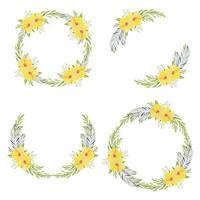 gul hibiskus blommig cirkel krans i akvarell samling vektor